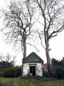 De theekoepel in de tuin tussen de oude bomen. Foto Alfred de Bruin