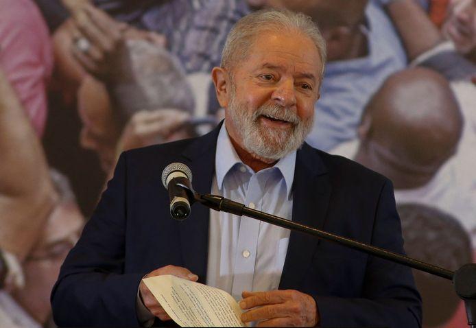 De voormalige Braziliaanse president Lula tijdens een toespraak vorige maand in São Bernardo do Campo bij São Paulo.