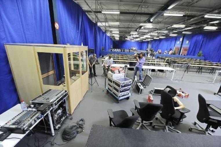 Gezien de omvang van het proces zetelt de correctionele rechtbank in het complex Tournai Expo Beeld UNKNOWN