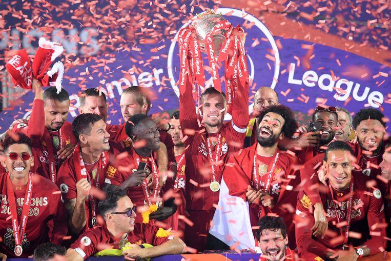 Een kampioenenfoto van Liverpool. De topclub uit de Premier League is een van de voortrekkers van een nieuwe internationale competitie. Beeld AFP