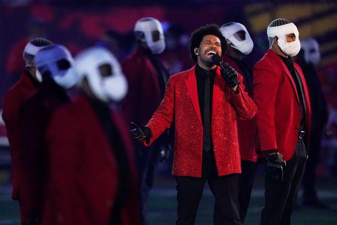 The Weeknd tijdens zijn halftime show.