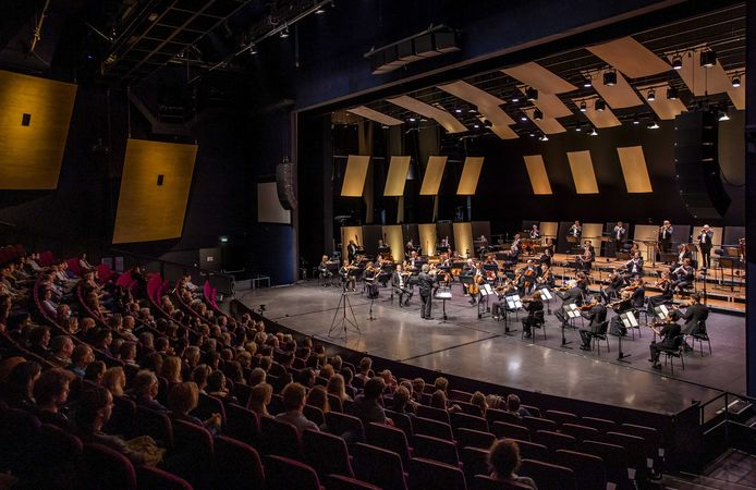 Circa 800 negatief op corona geteste, niet-kwetsbare belangstellenden bij een optreden van het Residentie Orkest.
