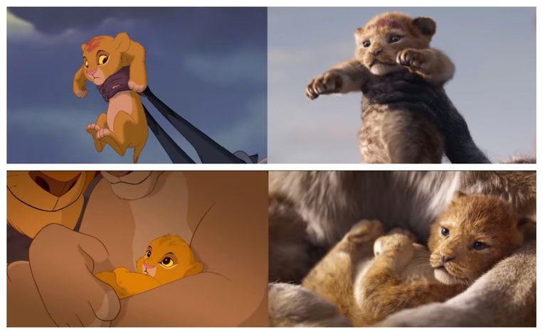 Links de tekenfilm uit 1994, rechts de live-actionfilm van 'The Lion King'.  Beeld RV/Disney