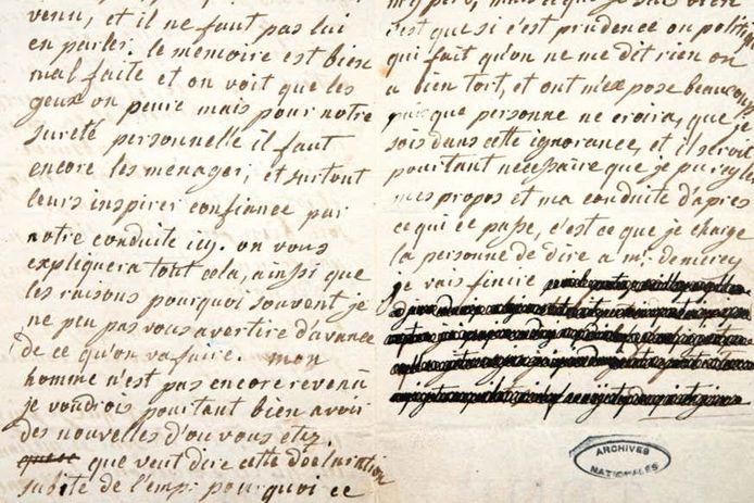 Les lettres de Marie-Antoinette contiennent de nombreux passages censurés.