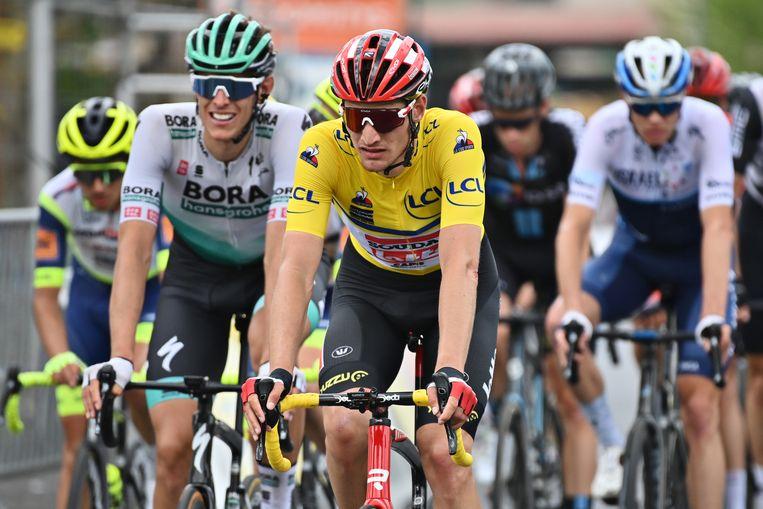 Brent Van Moer (Lotto Soudal) in de rit naar Saugues. Beeld BELGA
