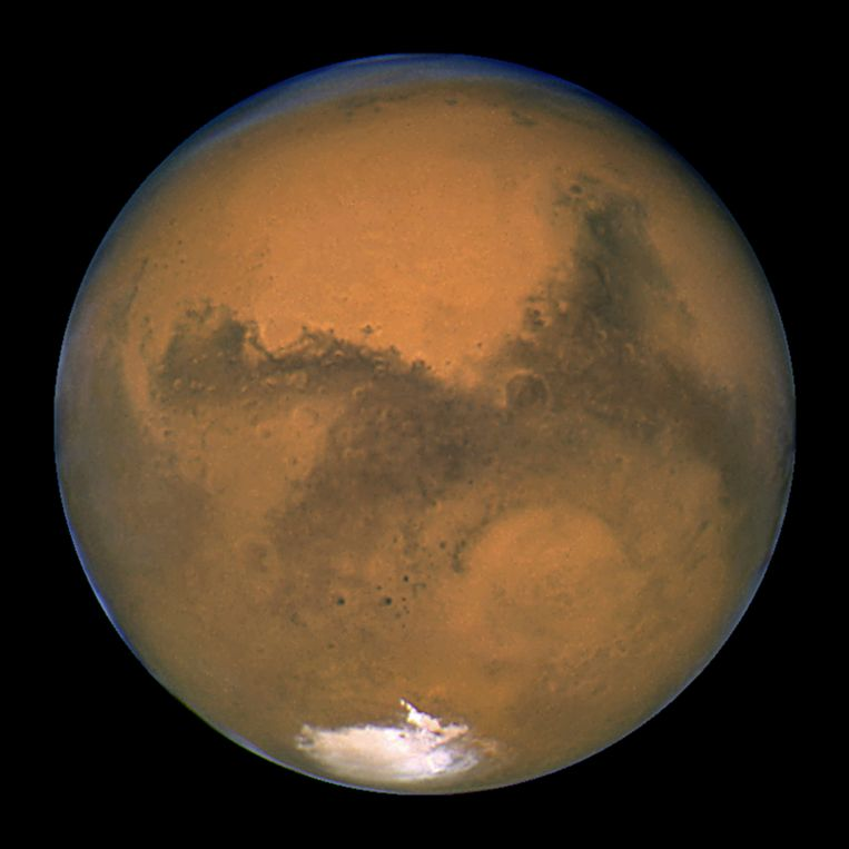Een foto van Mars die genomen werd door de Hubble-telescoop. Beeld AP