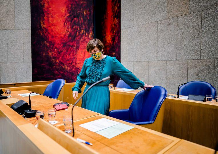 Lilianne Ploumen (Pvda) in de Tweede Kamer tijdens een debat over de wet gelijke beloning van vrouwen en mannen.  Beeld ANP