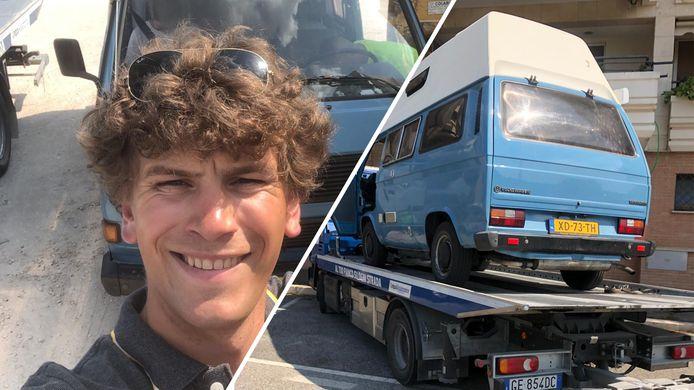 Daan Brinkerink en zijn teruggevonden camper.