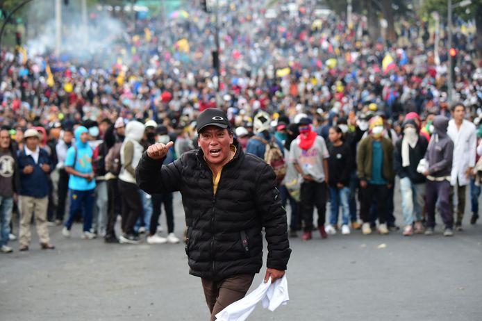 Protesten tegen de hoge benzineprijzen in Quito, de hoofdstad van Ecuador.