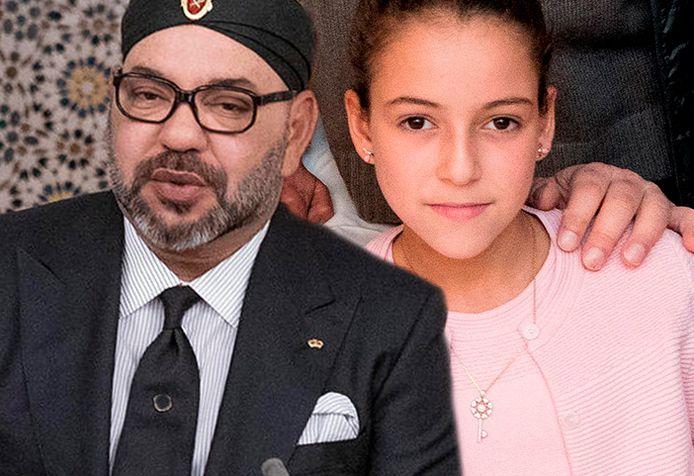 Koning Mohammed VI van Marokko en zijn 14-jarige dochter prinses Lalla Khadija.