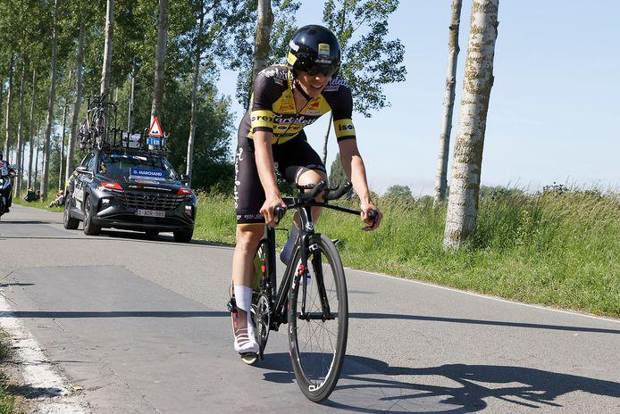 Gianni Marchand in actie tijdens de tijdrit in Knokke: hij hoopt zijn derde plaats in de stand vast te houden.