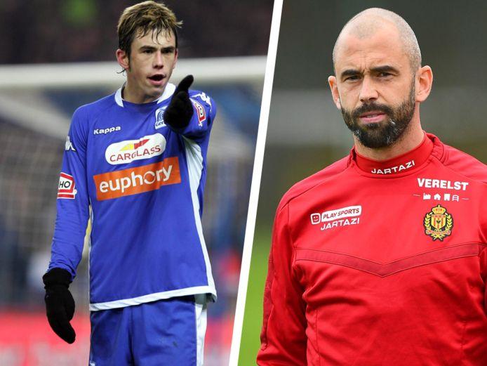Links: Steven Defour bij Genk. Rechts: Defour op training bij KV Mechelen.