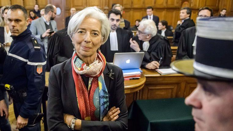 Christine Lagarde, vorig week maandag in het speciale hof in Frankrijk waar de zaak tegen haar diende. Beeld EPA