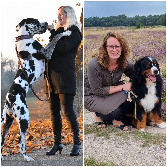 Dierenoppas Laura Scheffer (links) en eigenaresse van een dierenwebshop Ramona de Brock.