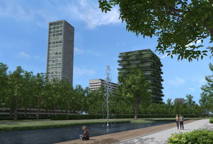 Eerste visualisatie van de groene toren, gezien vanaf het 'levend water' van het Spoorpark.