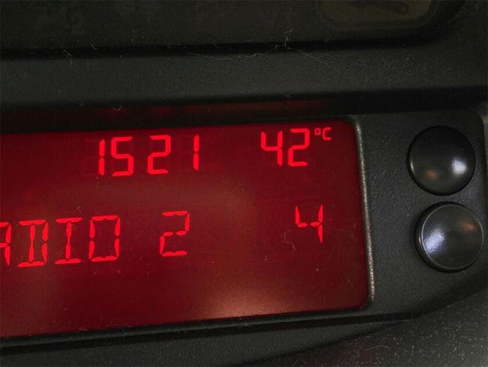 In een auto kan de temperatuur snel oplopen in de zon.