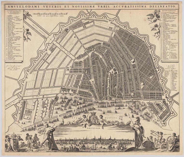 Kaart van de uitgebreide grachtengordel, Daniel Stalpaert (rond 1662) Beeld Collectie Stadsarchief
