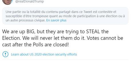 """Twitter signale le message de Trump accusant les démocrates de """"voler"""" l'élection"""