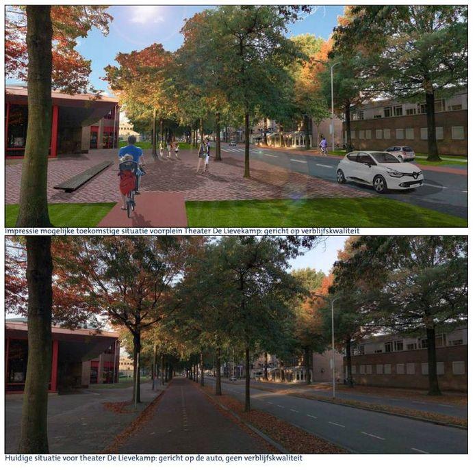 Impressie van de Raadhuislaan voor en na ombouw, zoals verbeeld in het gemeentelijke stuk Visie Centrumring. Dat werd al in het najaar van 2017 aangenomen.