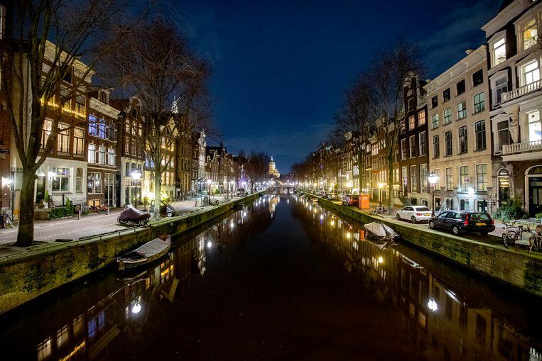 Lege straten in het centrum van Amsterdam. Beeld BSR Agency