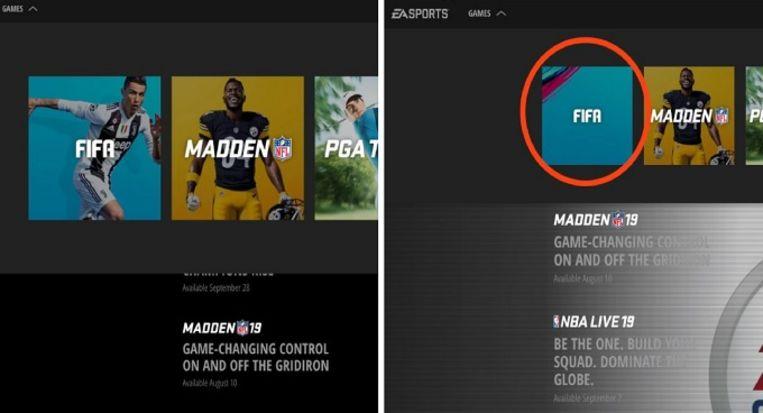 Links de oude cover van FIFA 19 op de website van EA Sports, rechts de nieuwe zonder Cristiano Ronaldo.