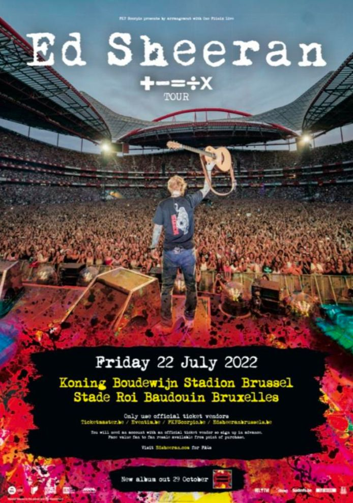 """Ed Sheeran passera par la Belgique avec son """"+ - = ÷ x Tour""""."""