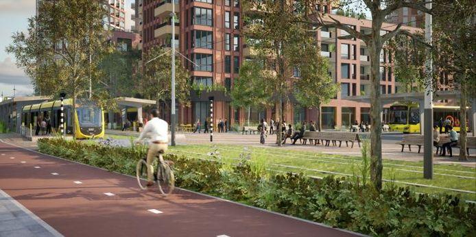 Een impressie van de nieuwe tramhalte en de omgeving.