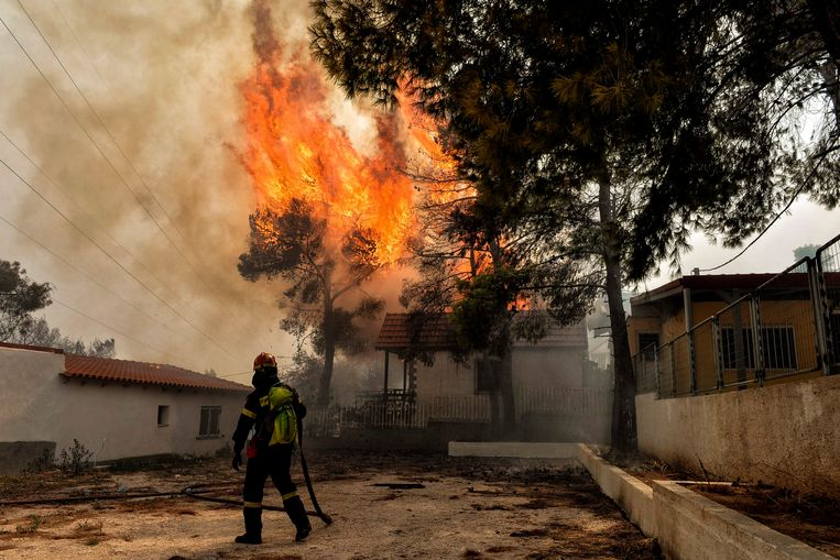 Een Griekse brandweerman doet zijn uiterste best om de brandhaarden te blussen in Kineta, ten westen van Athene. Beeld AFP