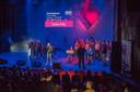Valentijns Party van het Pius X College in theaterhotel. Optreden van musical groep Pius X.
