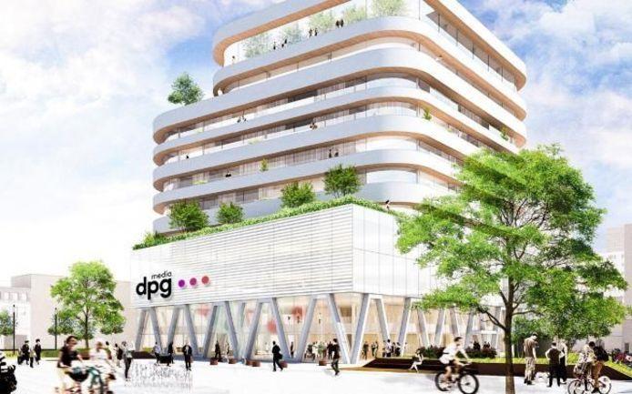 Het nieuwe gebouw van DPG Media in Antwerpen.
