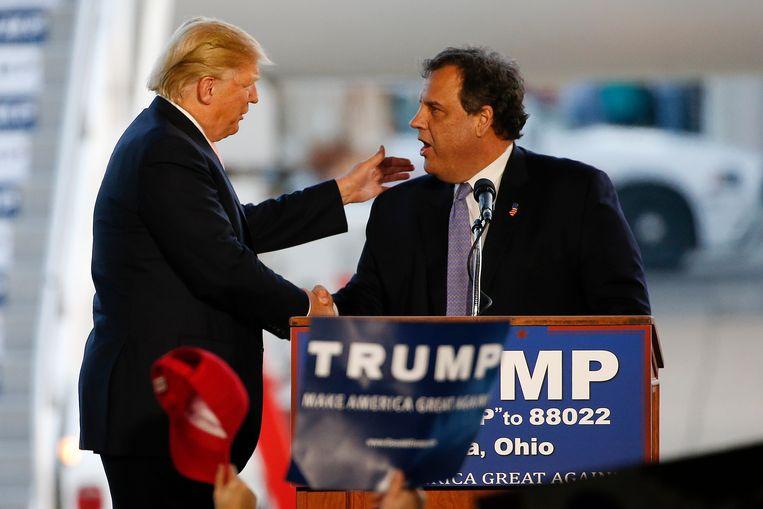 Chris Christie met toenmalig presidentskandidaat Donald Trump tijdens een campagnerally in 2016. Beeld AP