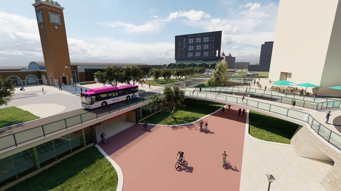 Impressie van het vernieuwde stationsgebied in Nijmegen.