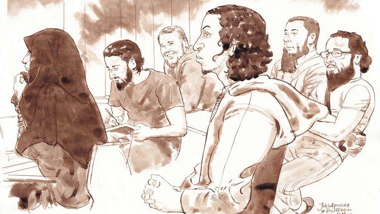 Rechtbanktekening van verdachten Iman B., Azzedine C., Rudolf H., Oussama C., Jordi de J. en Moussa L. tijdens het Haagse jihadproces in de bunker in Amsterdam-Osdorp. Beeld anp
