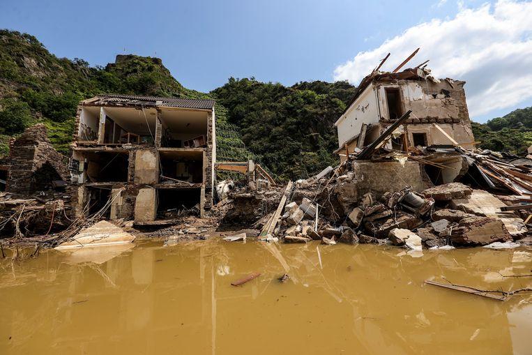 De ravage na de overstromingen in Duitsland, hier in de regio Ahrweiler. Beeld EPA