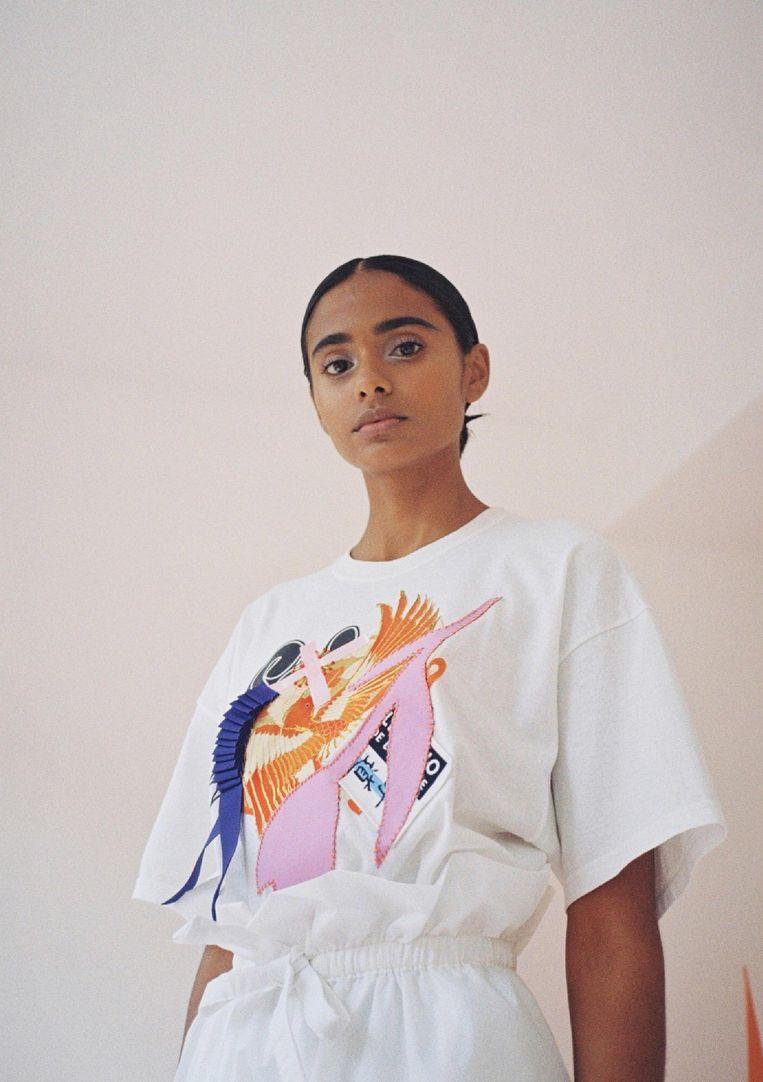 T-shirt met applicaties, van Konno Beeld Laila Cohen