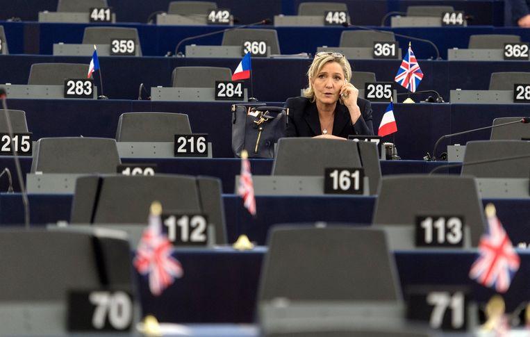 Le Pen in het Europees Parlement in Straatsburg. Beeld EPA