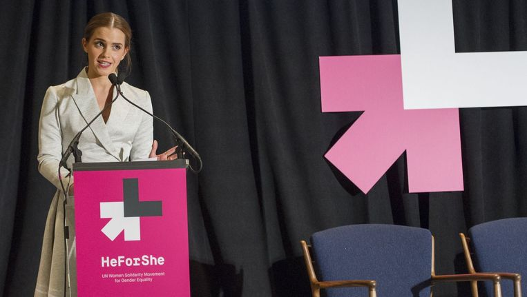 Emma Watson tijdens haar speech voor de Verenigde Naties. Beeld PHOTO_NEWS