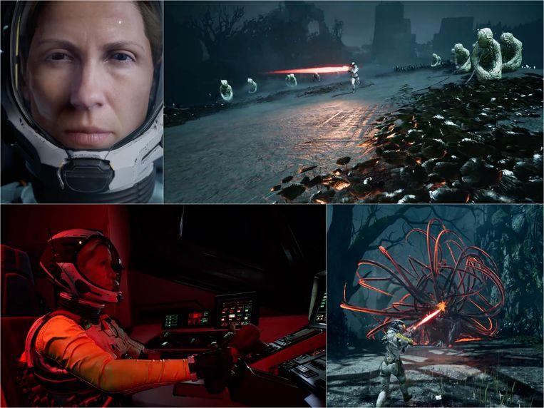 Astronaute Selene is niet voor een gat of alien met tentakels te vangen. Beeld Housemarque