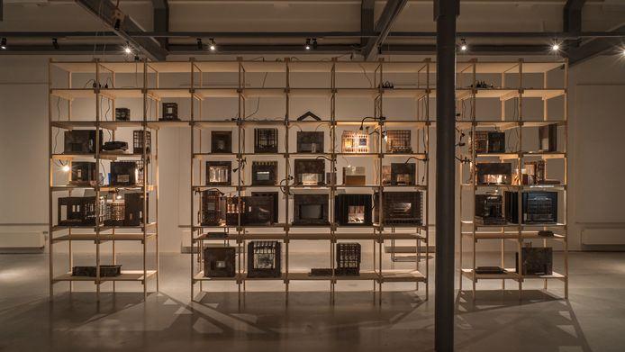 Werken van Jan Klatter op de expositie 'Tentoonstelling in Talloze Aktes' in Helmond.