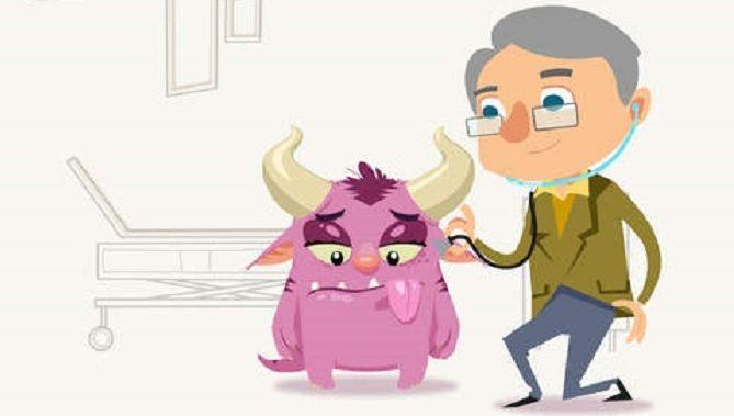 Het roze fantasiepersonage van de Prik!-app bezoekt eerst de dokter, die stuurt het monstertje door naar de prikpoli in het ziekenhuis.