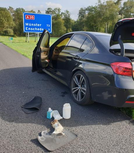 File op A35 tussen Hengelo en Enschede door autobrand