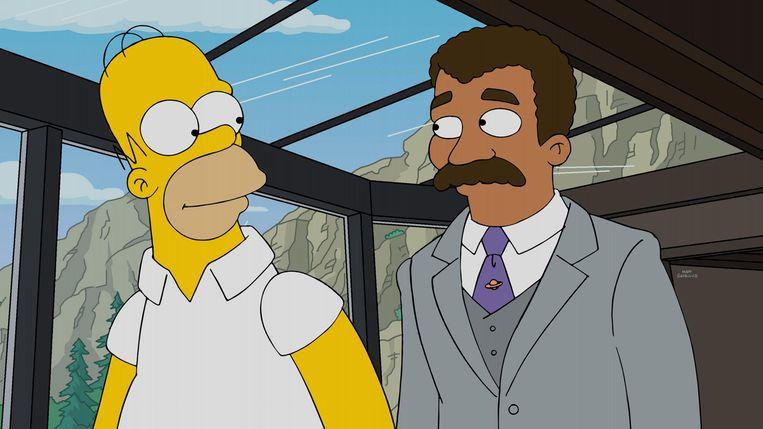 Ook draaft hij op in tal van films en reeksen, zoals hier naast Homer Simpson in 'The Simpsons'. Beeld Century Fox Film Corp., via Everett Collection