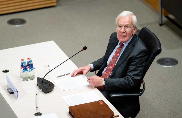 Herman Tjeenk Willink, oud-senator en oud-vicevoorzitter van de Raad van State, tijdens de slothoorzitting van de tijdelijke commissie die onderzoek doet naar het functioneren van uitvoeringsorganisaties.  Beeld ANP