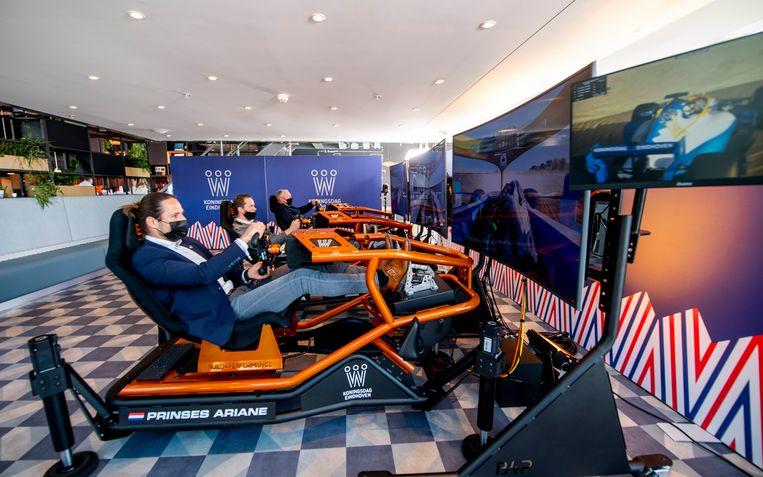 Racesimulatoren voor de drie prinsessen staan klaar voor Koningsdag op de High Tech Campus in Eindhoven. Beeld Brunopress