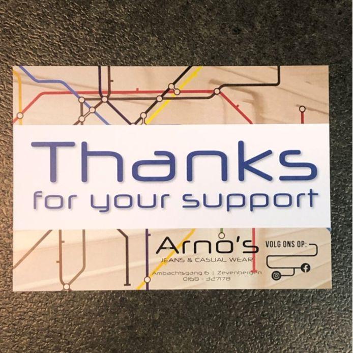 Dank voor jullie steun, zeggen diverse ondernemers in Etten-Leur en Moerdijk tegen hun klanten.