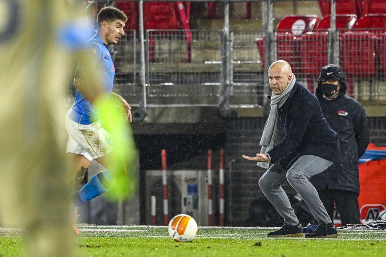 Arne Slot, deze week nog actief in de Europa Leaguewedstrijd tegen Napoli. Beeld ANP
