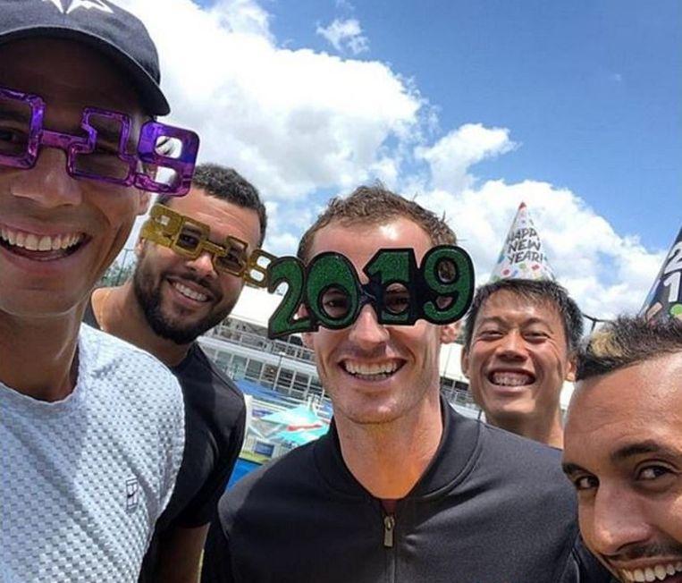 Rafael Nadal, Jo-Wilfried Tsonga, Andy Murray, Kei Nishikori en Nick Kyrgios in Brisbane.