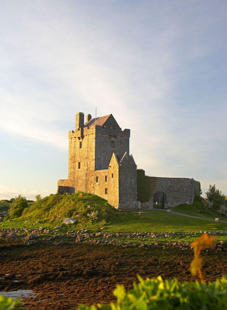 Dunguaire Castle, aan de kust van Galway Bay, in de avondzon. Beeld Alamy Stock Photo