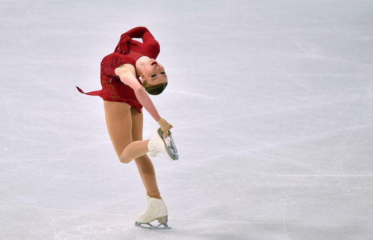 Lindsay van Zundert tijdens de Ladies Free Skating op de Wereldkampioenschappen kunstschaatsen in Stockholm, Zweden. Beeld AP