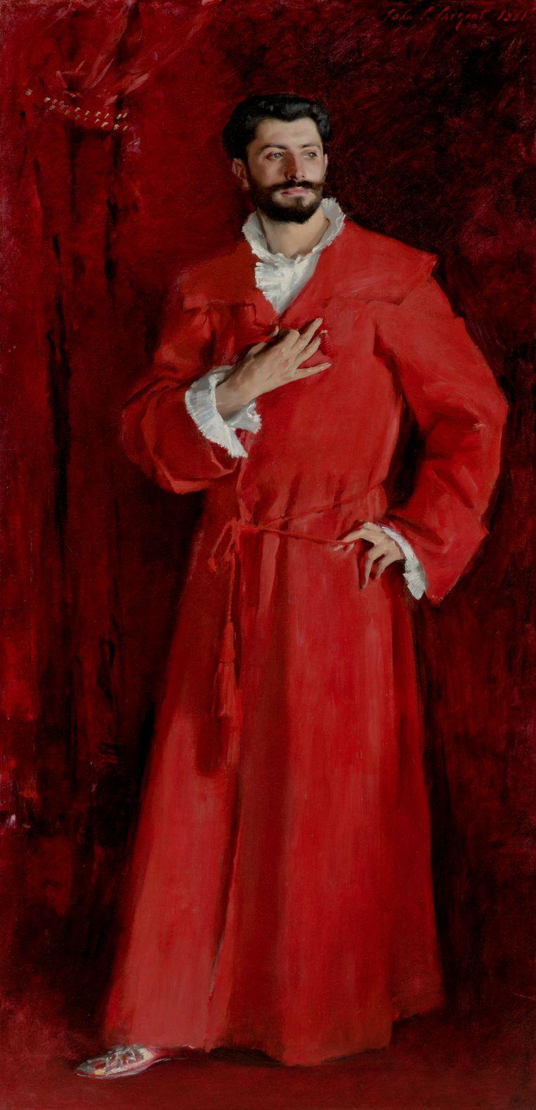 De knappe dr. Pozzi (John Singer Sargent) is geschilderd in rode kamerjas Beeld Hammer Museum